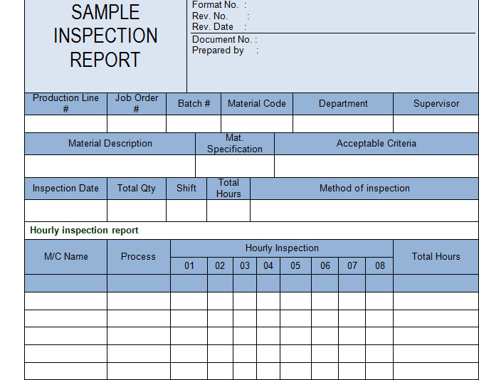 Dimensional Inspection Report Template Get Inspection Report Template Sample Microsoft Project