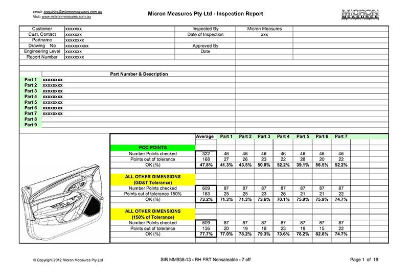 Dimensional Inspection Report Template Micronmeasures