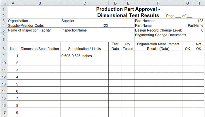 Dimensional Inspection Report Template Ppap forms In Excel Ppap Templates