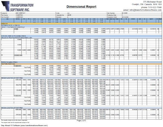 Dimensional Inspection Report Template Transformation software Step Ahead