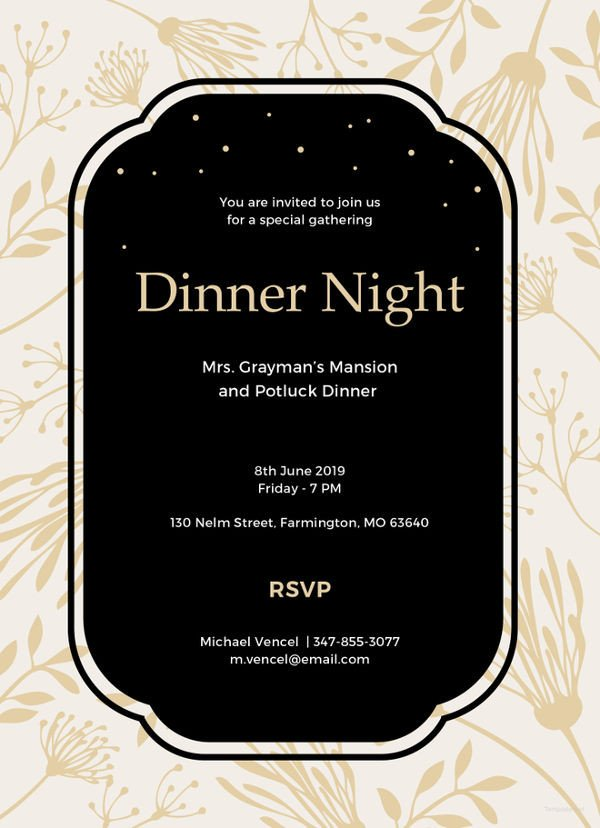 Dinner Party Invitation Templates 13 Team Dinner Invitations Jpg Vector Eps Ai