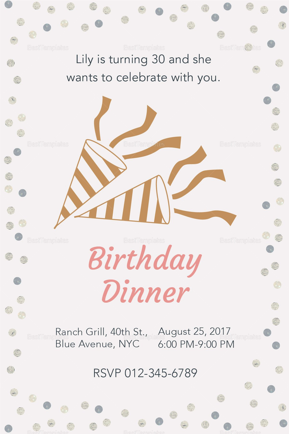 Dinner Party Invitation Templates Birthday Dinner Invitation Design Template In Psd Word