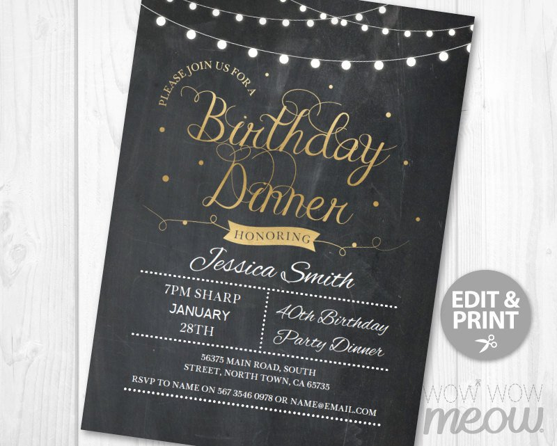 Dinner Party Invitation Templates Birthday Dinner Party Invite Instant Download Any Age 30th