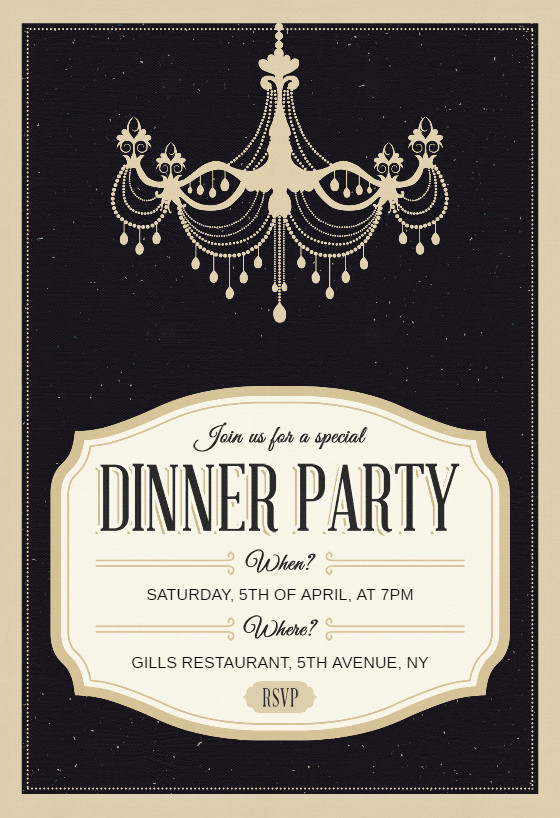 Dinner Party Invitation Templates Classy Chandelier Dinner Party Invitation Template Free