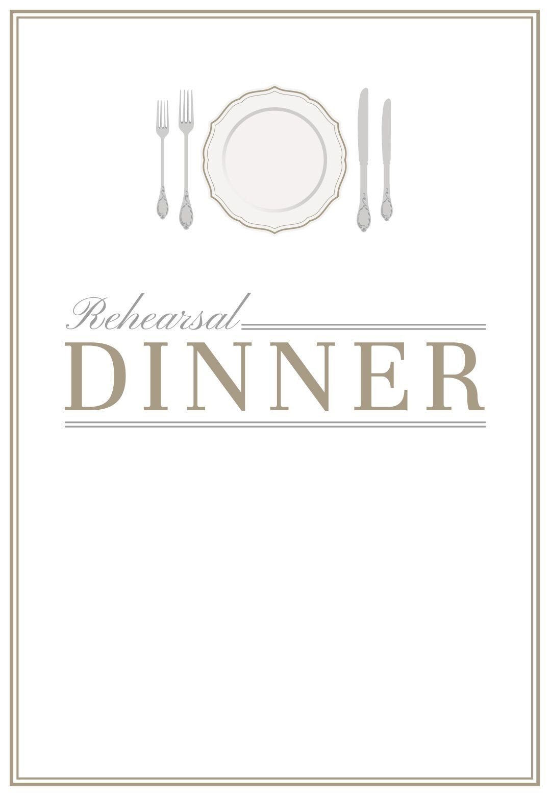 Dinner Party Invitation Templates Elegant Setting Free Printable Rehearsal Dinner Party