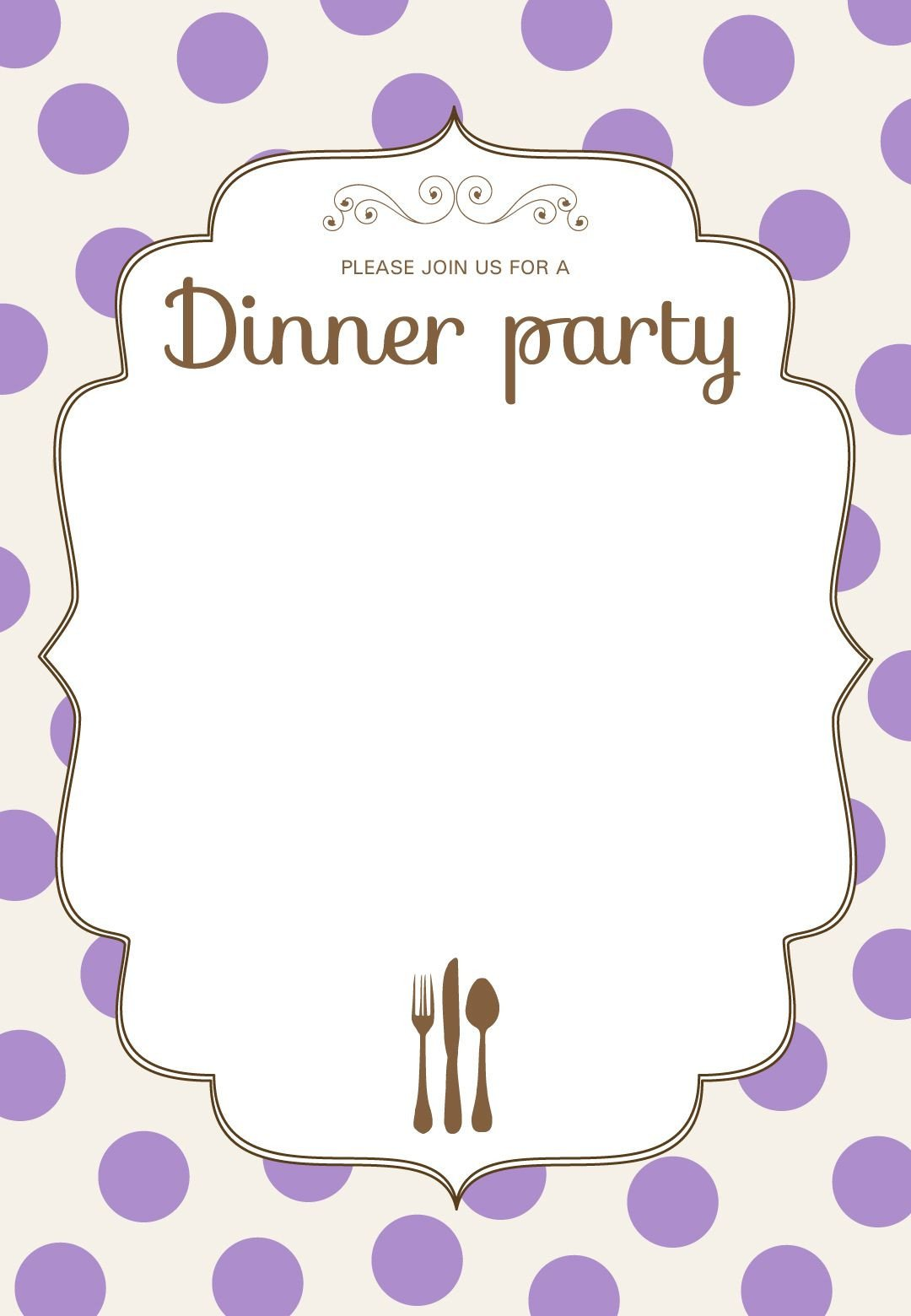 Dinner Party Invitation Templates Free Printable Classic Dinner Party Invitation