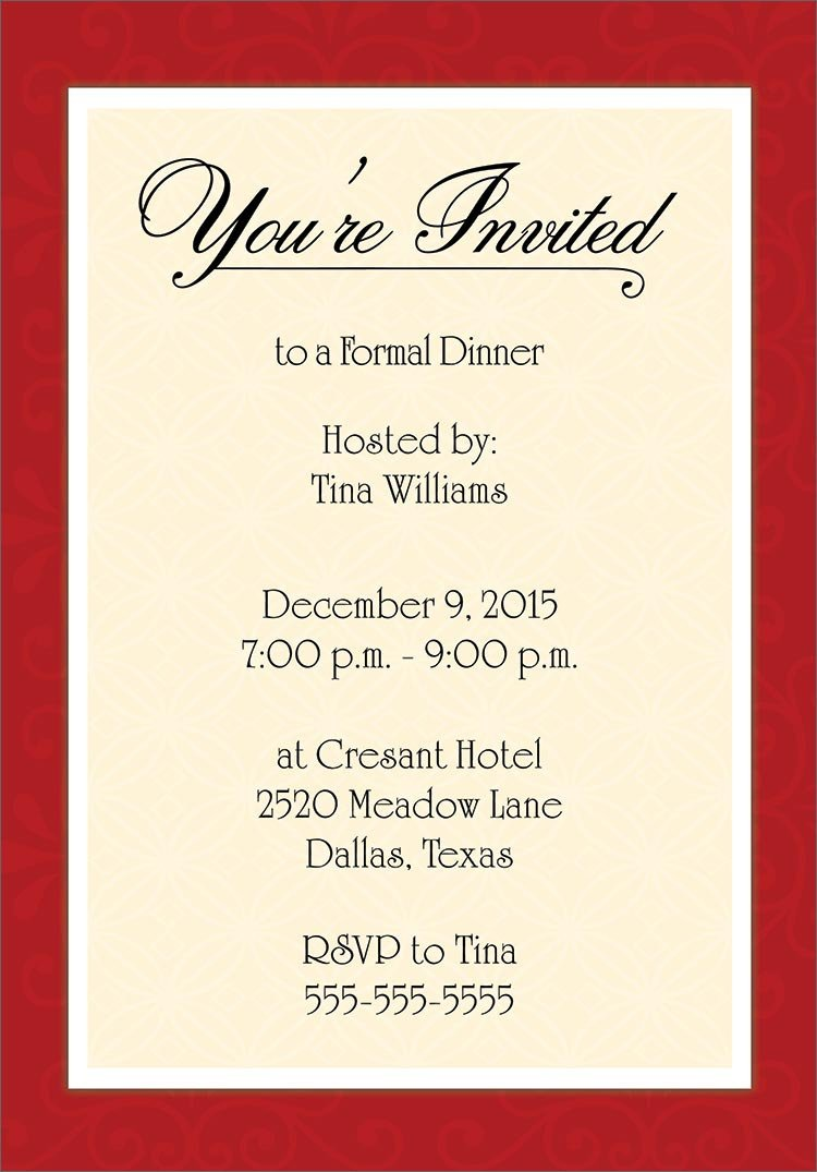 Dinner Party Invitation Templates Invitation Cards