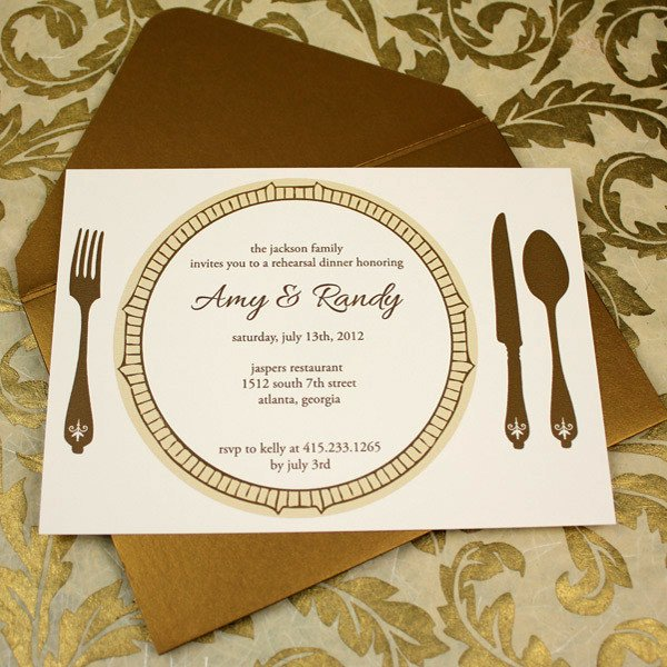 Dinner Party Invitation Templates Invitation Template – Elegant Rehearsal Dinner Invitation
