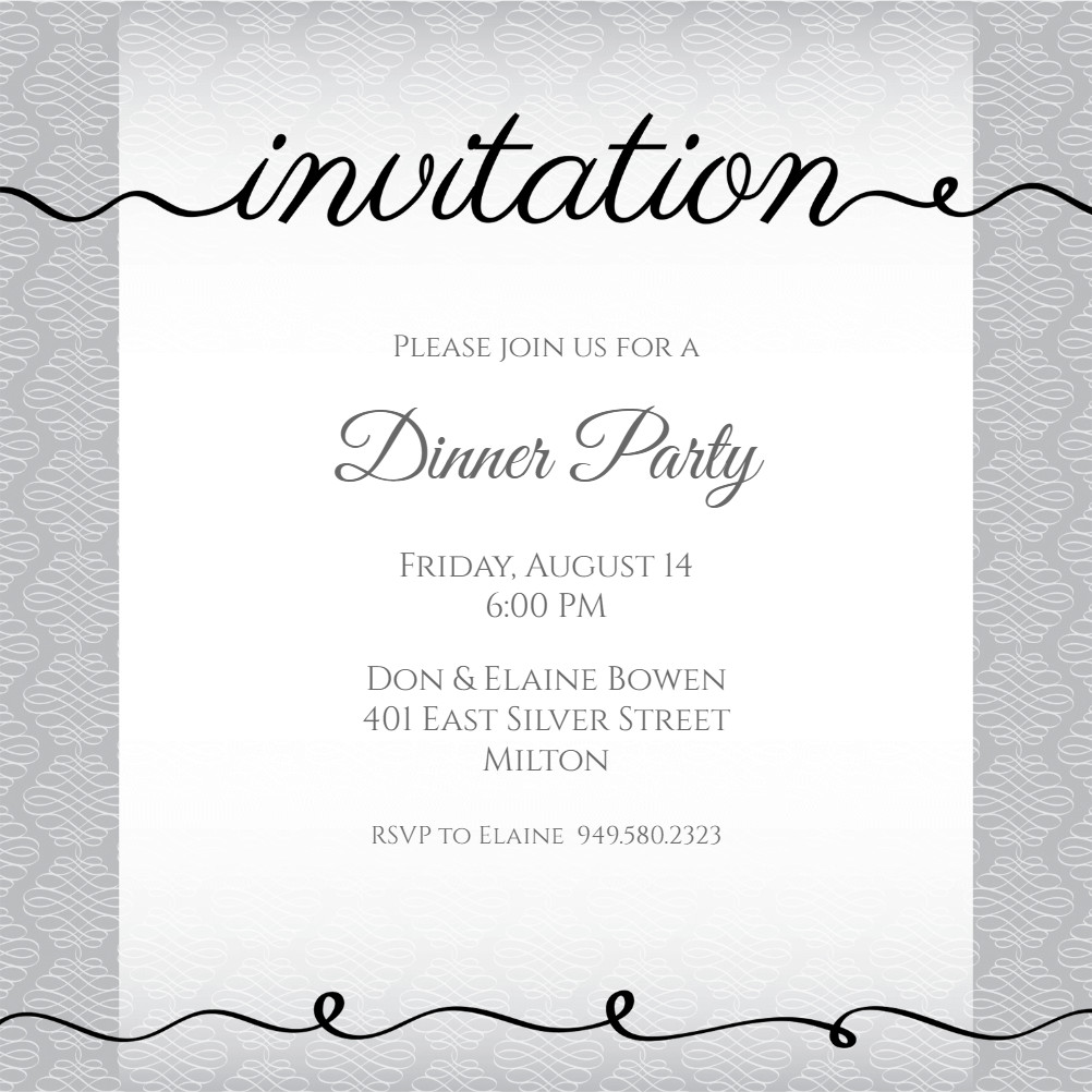 Dinner Party Invitation Templates Ribbon Writing Dinner Party Invitation Template Free
