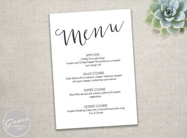 Dinner Party Menu Template 23 event Menu Templates