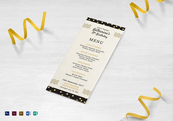 Dinner Party Menu Template 47 Menu Card Templates Ai Psd Docs Pages