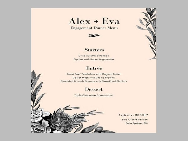 Dinner Party Menu Template 6 Engagement Party Menu Templates Psd Ai