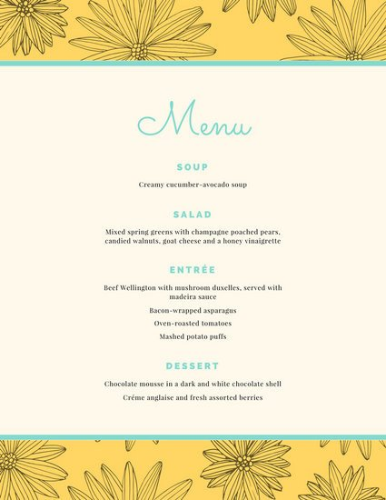 Dinner Party Menu Template Customize 404 Dinner Party Menu Templates Online Canva