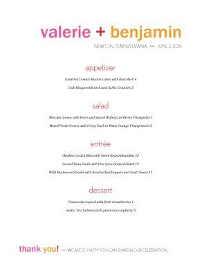 Dinner Party Menu Template Dinner Party Menu