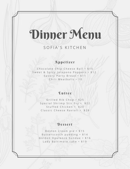 Dinner Party Menu Template Dinner Party Menu Templates Canva
