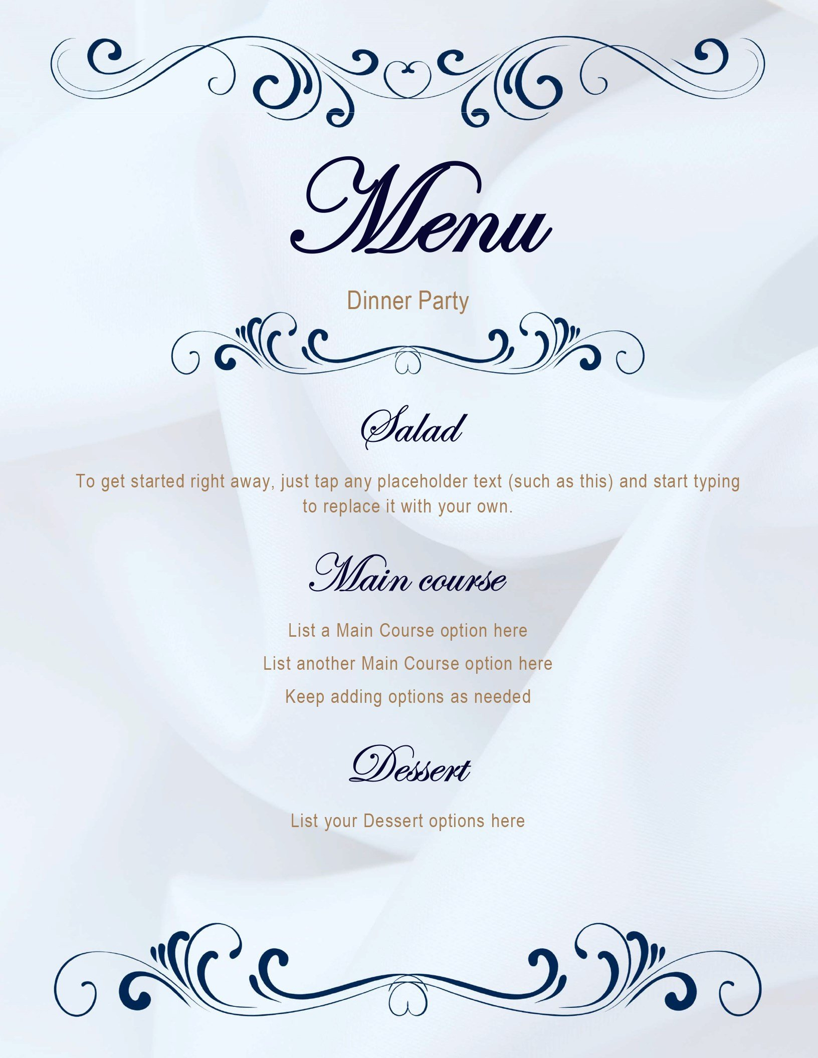 Dinner Party Menu Template Menus Fice