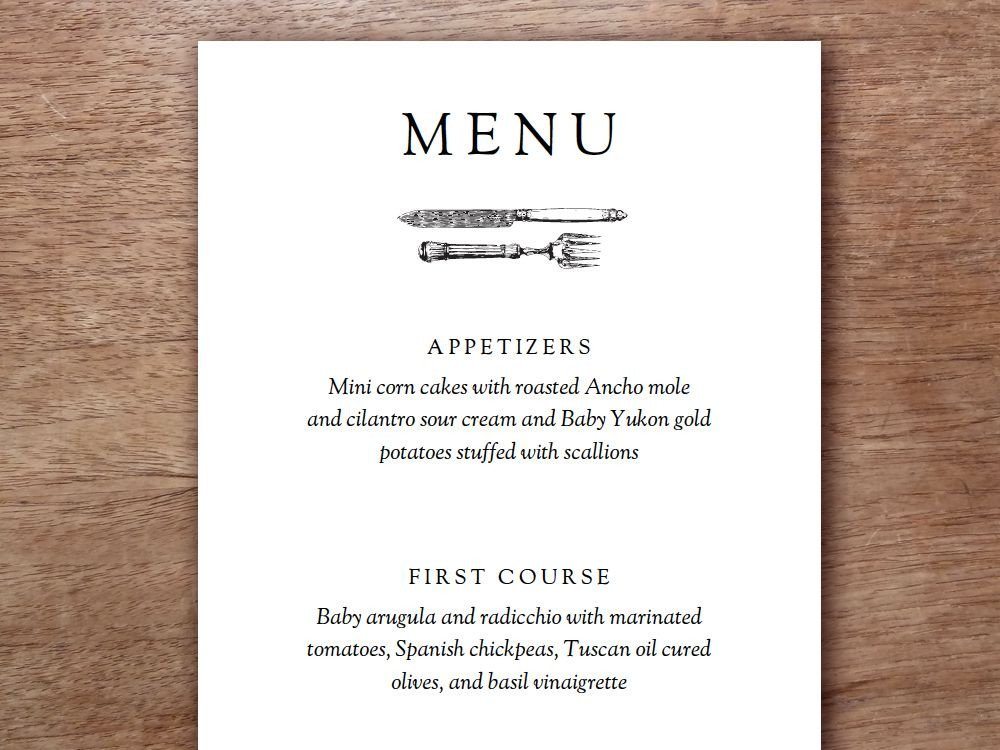 Dinner Party Menu Template Printable Menu Kate & Wills