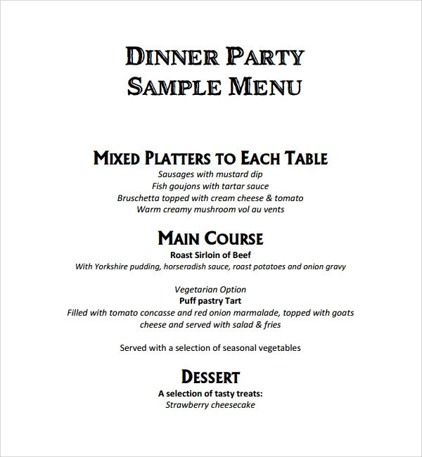 Dinner Party Menu Template Sample event Menu Template 8 Free Documents In Pdf Word