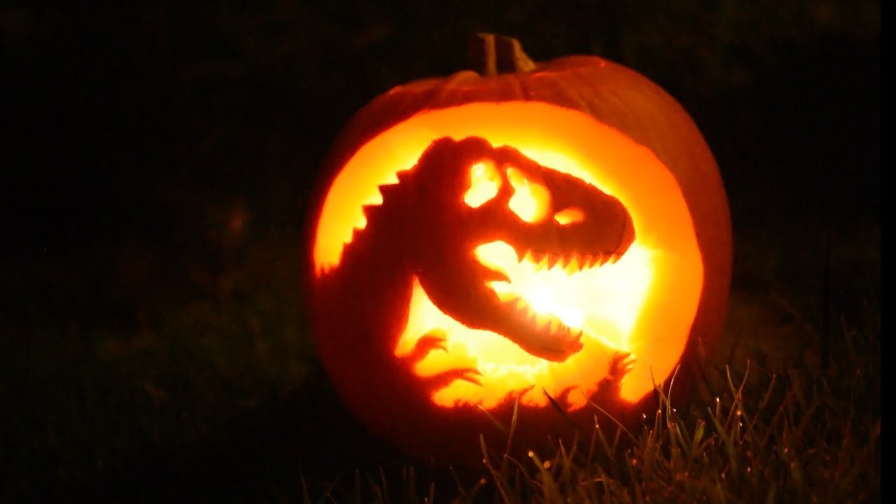 Dinosaur Pumpkin Carving Pattern Making A Jurassic Park Pumpkin