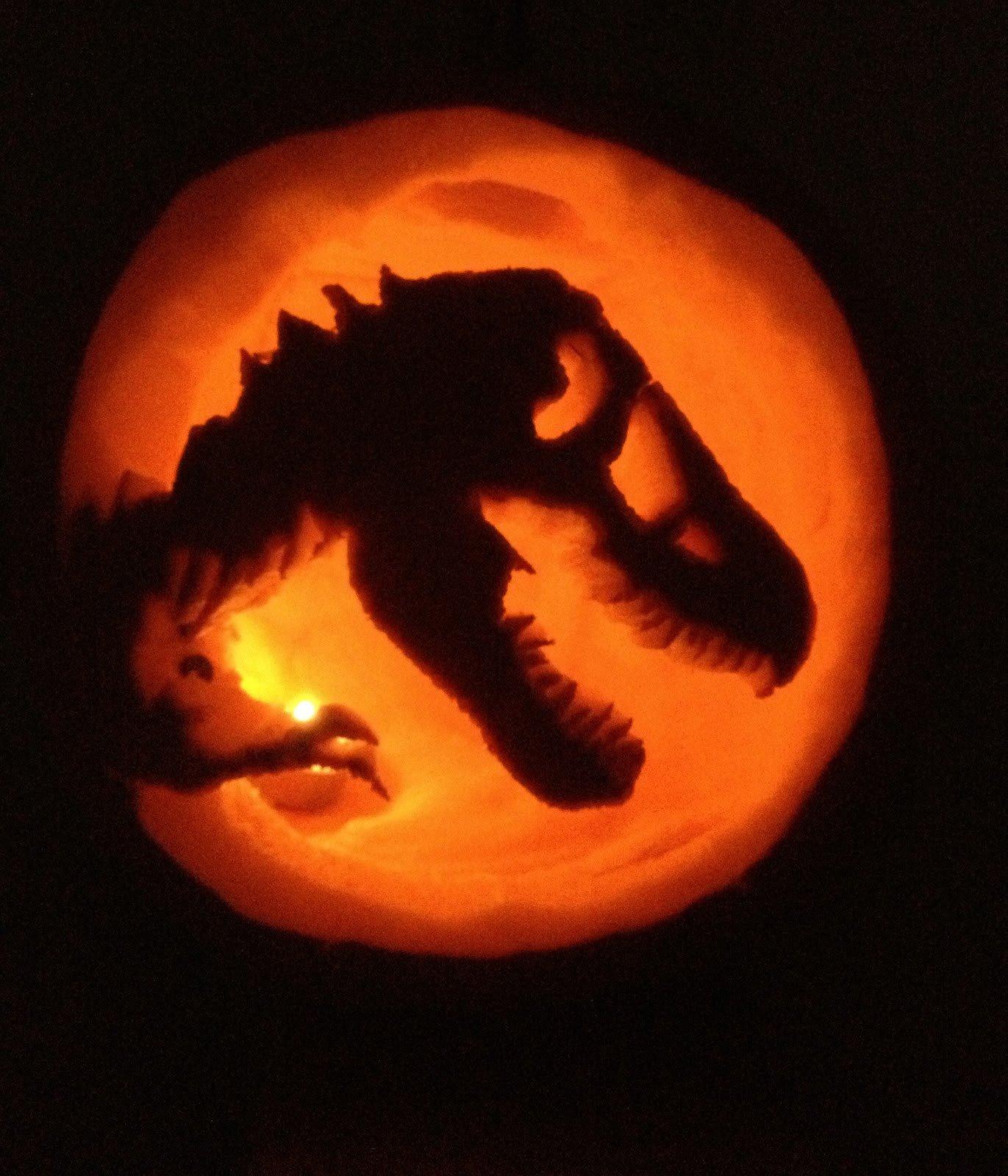 Dinosaur Pumpkin Carving Pattern Pink Dinosaur Jurassic Halloween