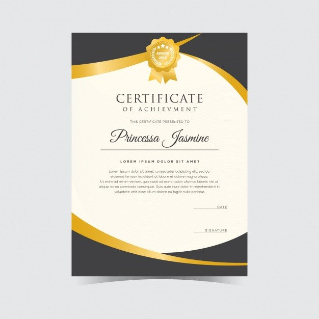 Diploma Template Free Download Golden Certificate Template Vector