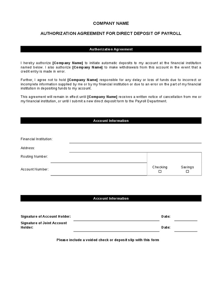Direct Deposit Authorization form Template 5 Direct Deposit form Templates Excel Xlts