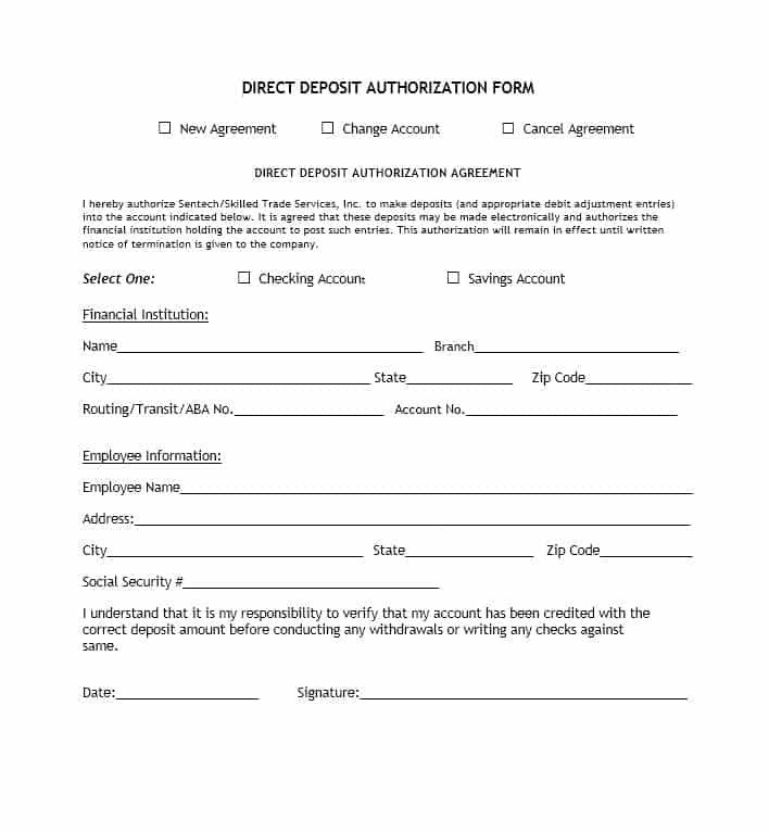Direct Deposit form Template 47 Direct Deposit Authorization form Templates Template