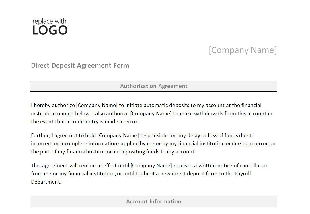 Direct Deposit form Template Direct Deposit form Template