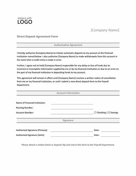 Direct Deposit form Template Payrolls Fice