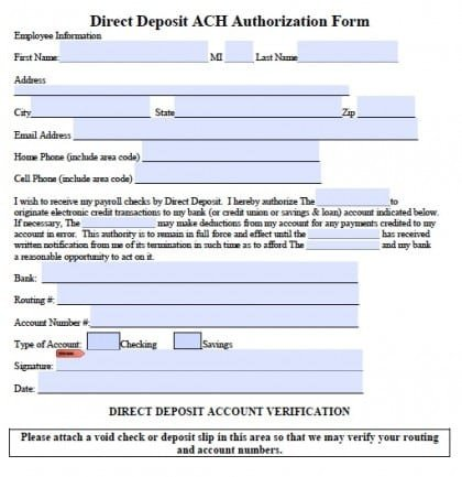 Direct Deposit form Template Word 5 Generic Direct Deposit form Templates formats