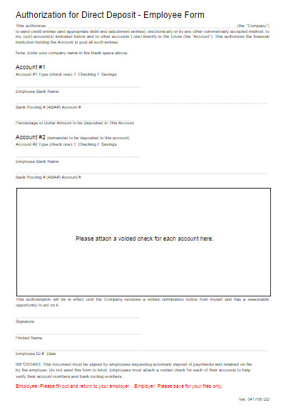 Direct Deposit form Template Word Direct Deposit form Template