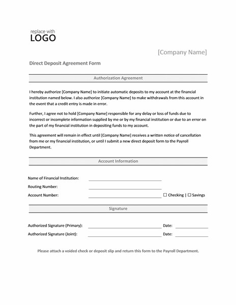 Direct Deposit form Template Word Payrolls Fice