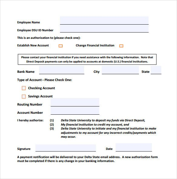 Direct Deposit form Template Word Sample Direct Deposit form 8 Download Free Documents In