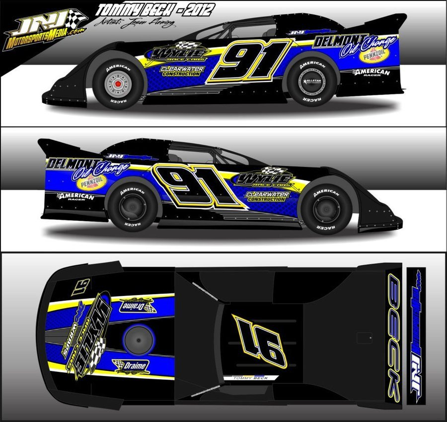 Dirt Late Model Body Template 2012 tommy Beck Dirt Late Model Wrap by 54warrior