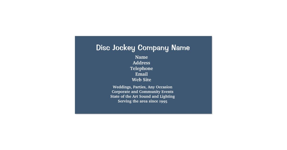 Disc Jockey Business Card Disc Jockey Business Card