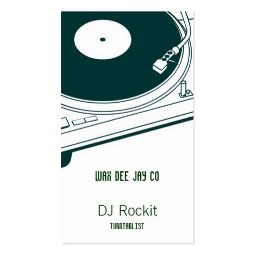 Disc Jockey Business Card Disc Jockey Turntable Business Card