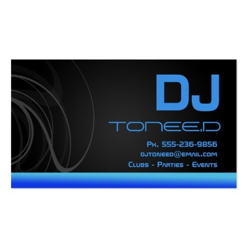Disc Jockey Business Card Dj Disc Jockey Business Cards Blue
