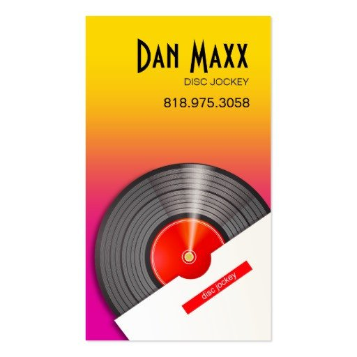 Disc Jockey Business Card Dj Disc Jockey Vinyl Hot Wax Music Business Card