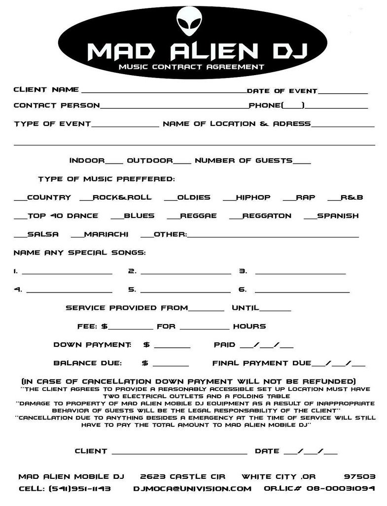 Disc Jockey Contracts Template 11 Dj Contract Examples Pdf Word Apple Pages Google