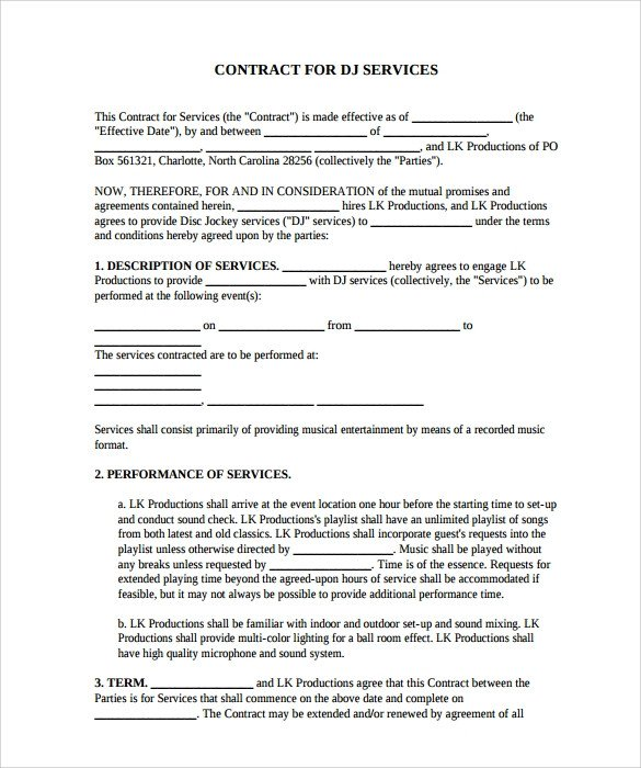 Disc Jockey Contracts Template Dj Contract 12 Download Documents In Pdf