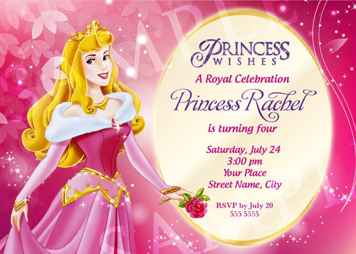 Disney Princess Invitation Template Aurora Princess Birthday Invitation Template
