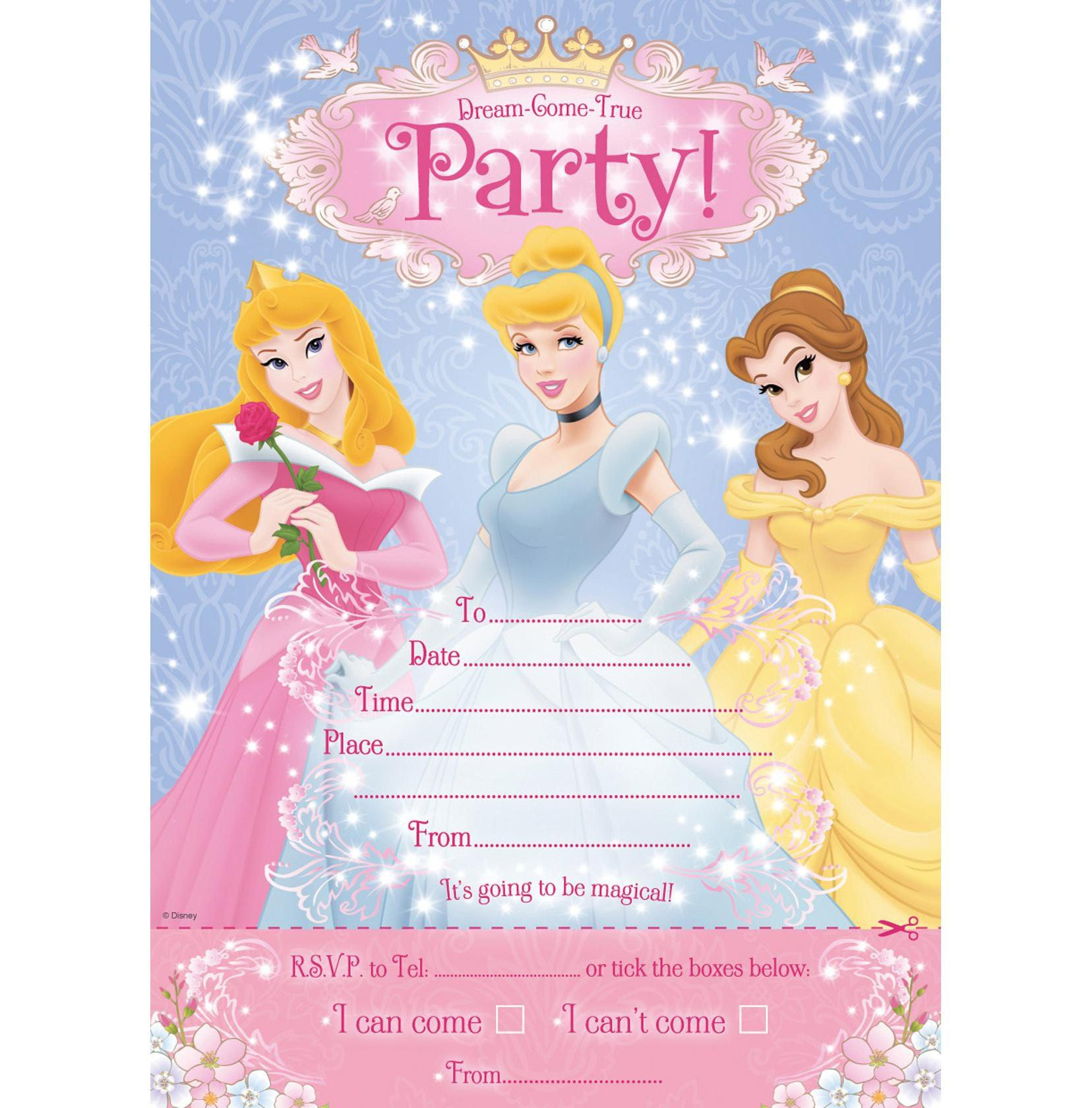Disney Princess Invitation Template Disney Princess Birthday Invites