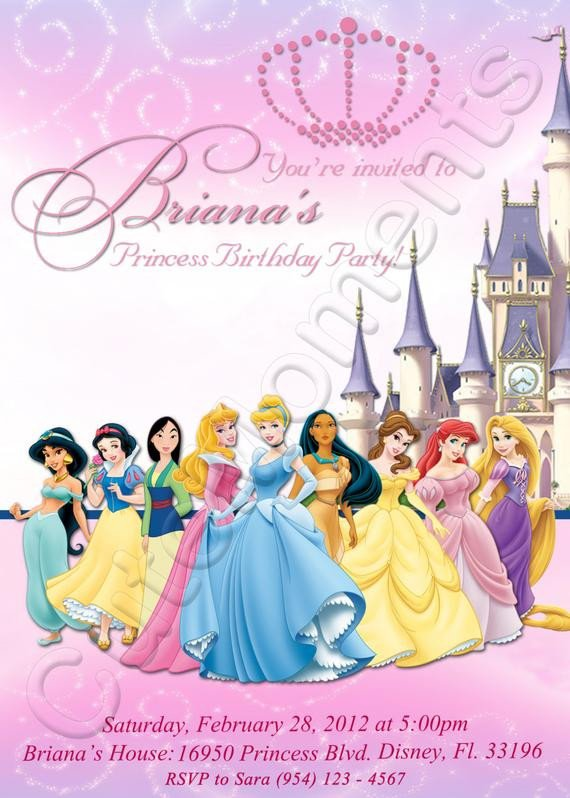 Disney Princess Invitation Template Disney Princess Personalized Digital Invitation by Cutemoments