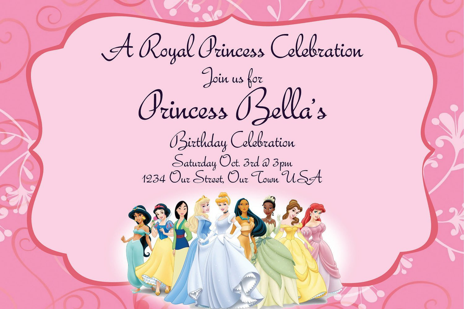 Disney Princess Invitation Template Disney Princesses Birthday Invitations Disney Princess