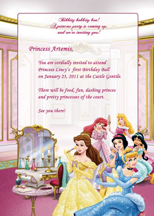 Disney Princess Invitation Template Disney Princesses Birthday Party Invitation – Free