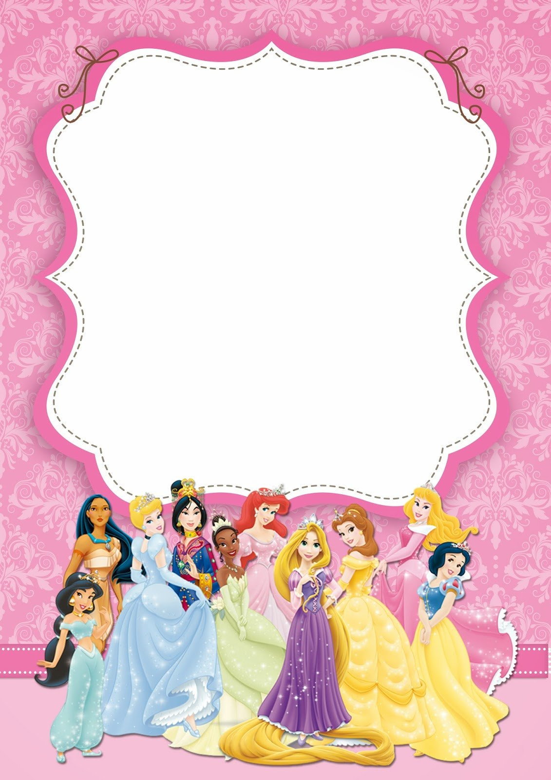 Disney Princess Invitation Template Free Printable Disney Princess Ticket Invitation Template
