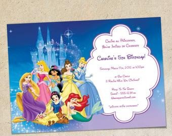 Disney Princess Invitation Template Popular Items for Princess Party Invitation On Etsy