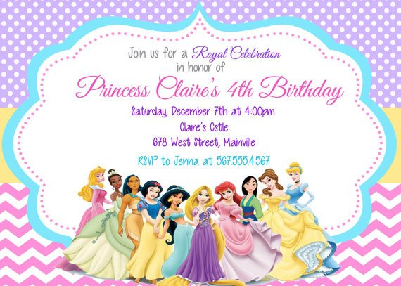 Disney Princess Invitation Template Princess Invitation Disney Princess Invitation Birthday