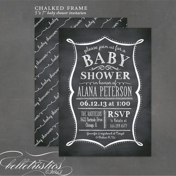Diy Baby Shower Invitation Templates Printable Baby Shower Invitation Chalkboard by Charmprintables