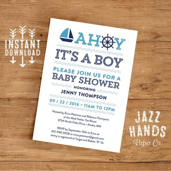 Diy Baby Shower Invitation Templates Printable Nautical Baby Shower Invitation Template